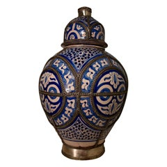 19th Century Blue and White Ceramic Urn Vase, Fez, Morocco