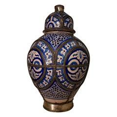 19th Century Blue and White Ceramic Urn Vase, Fez, Morocco