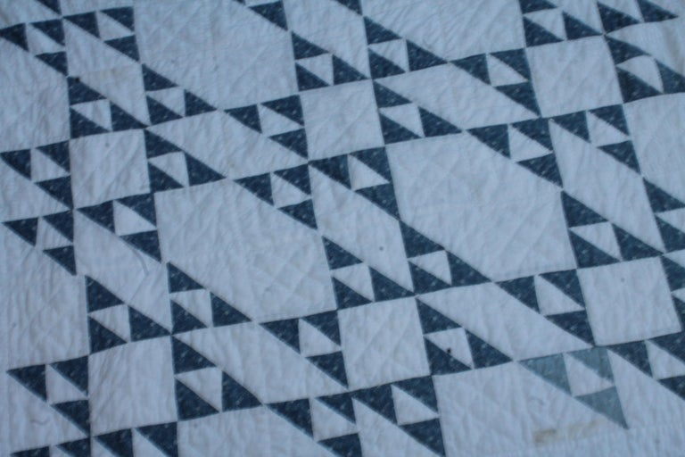 19th century blue and white crib quilt in fine condition. This is finely pieced and quilting is very good.
