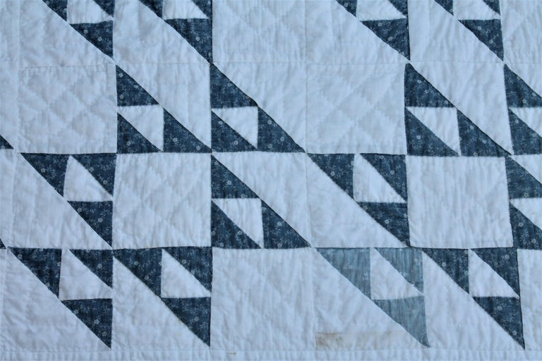 Country 19th Century Blue and White Crib Quilt For Sale
