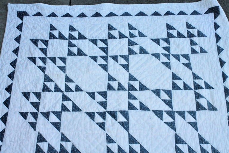 Hand-Crafted 19th Century Blue and White Crib Quilt For Sale