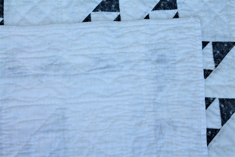 Late 19th Century 19th Century Blue and White Crib Quilt For Sale