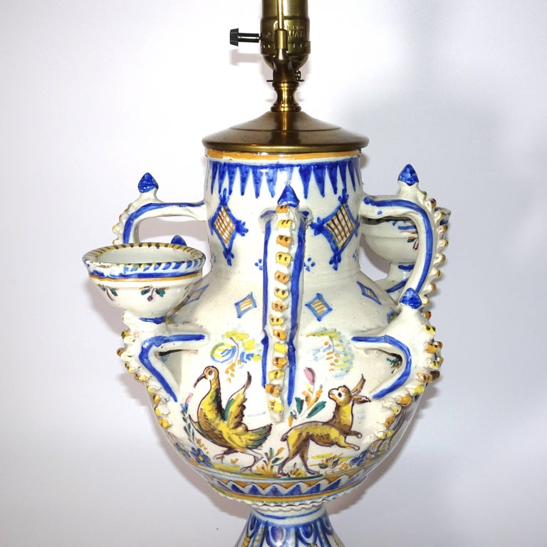 19th Century Blue and White Delft Vase made into Table Lamp on Wood Base In Good Condition For Sale In Nashville, TN