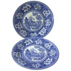 19th Century Blue and White Elephant Platter Chinoiserie Pagoda Burslem