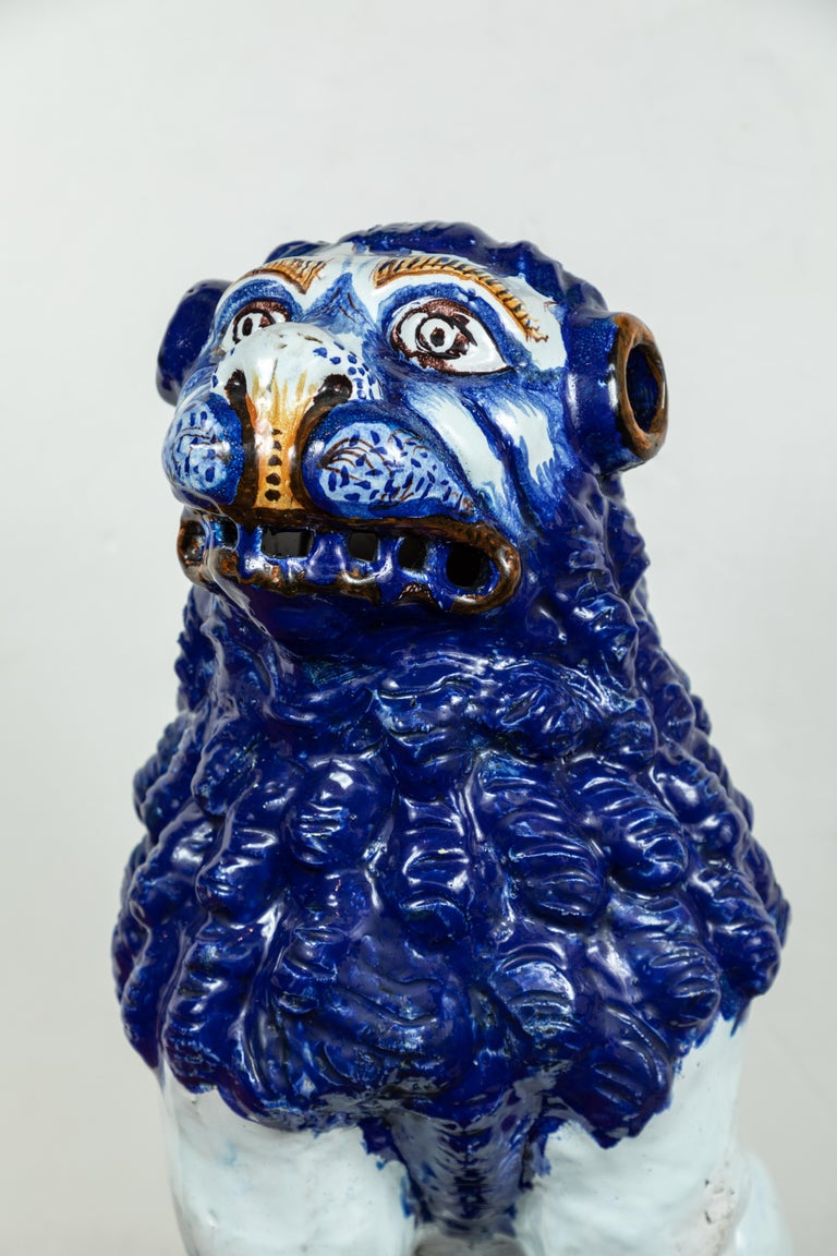French 19th Century, Blue and White Foo Dogs For Sale