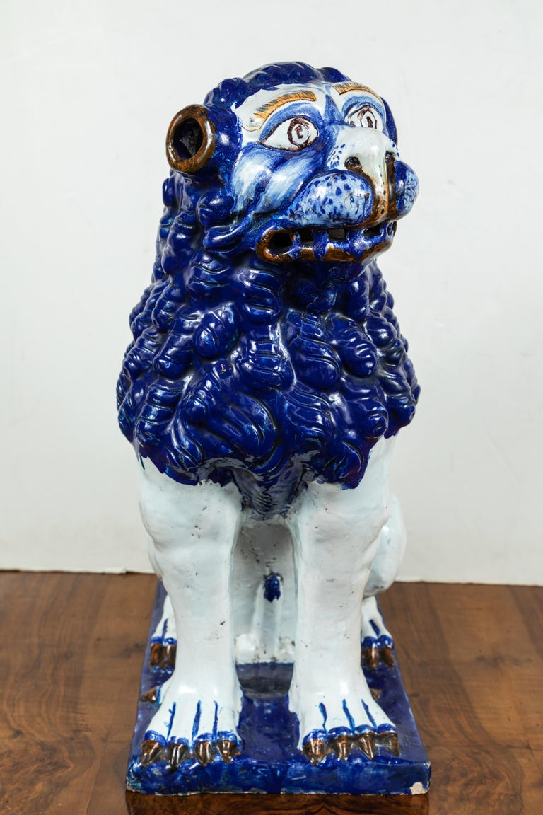 19th Century, Blue and White Foo Dogs For Sale 1