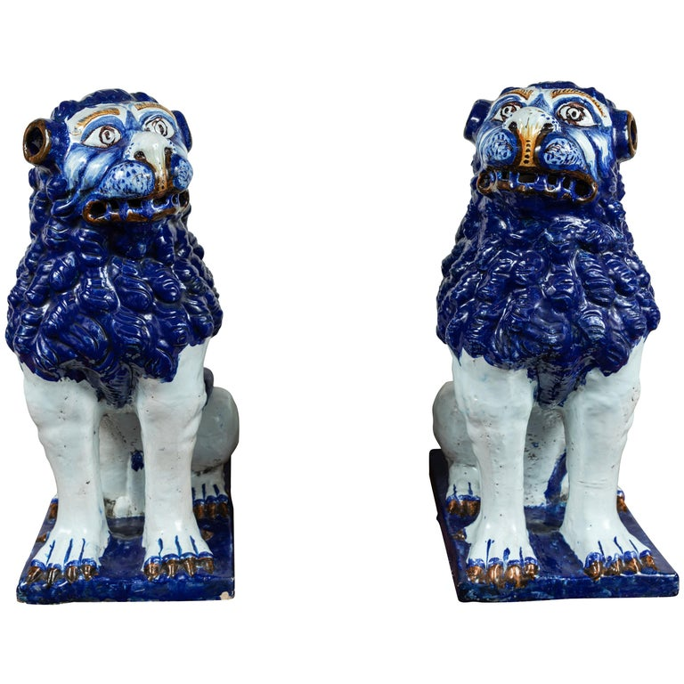 19th Century, Blue and White Foo Dogs For Sale