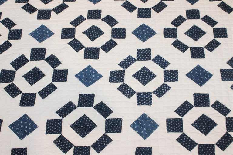 Country 19th Century Blue and White Geometric Quilt For Sale