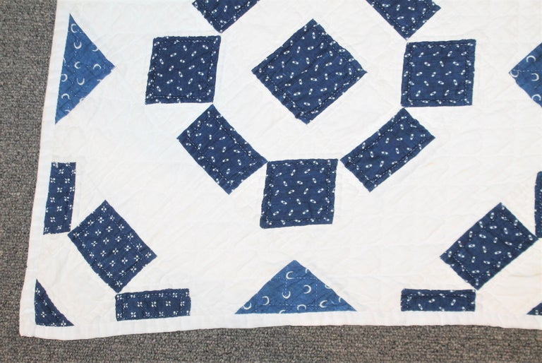 American 19th Century Blue and White Geometric Quilt For Sale