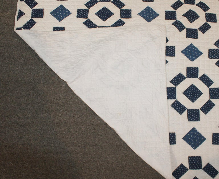 Hand-Crafted 19th Century Blue and White Geometric Quilt For Sale