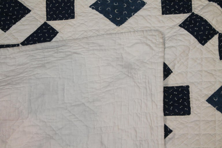 19th Century Blue and White Geometric Quilt In Good Condition For Sale In Los Angeles, CA