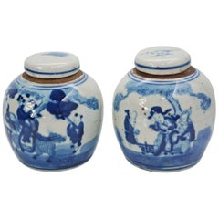19th Century Blue and White Ginger Jar with Figurative Motif, Pair