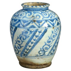 19th Century Blue and White Glazed Persian Vase