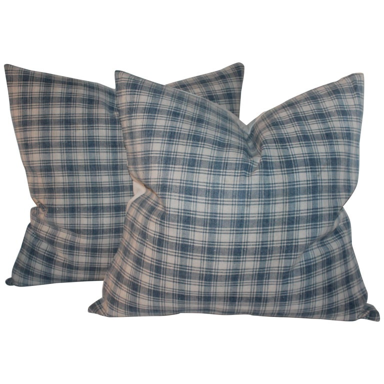 19th Century Blue and White Linen Pillows, Pair For Sale