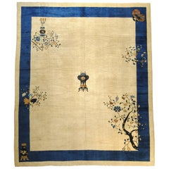 19th Century Blue and White Lotus Flowers Cream Peking Chinese Rug in Wool
