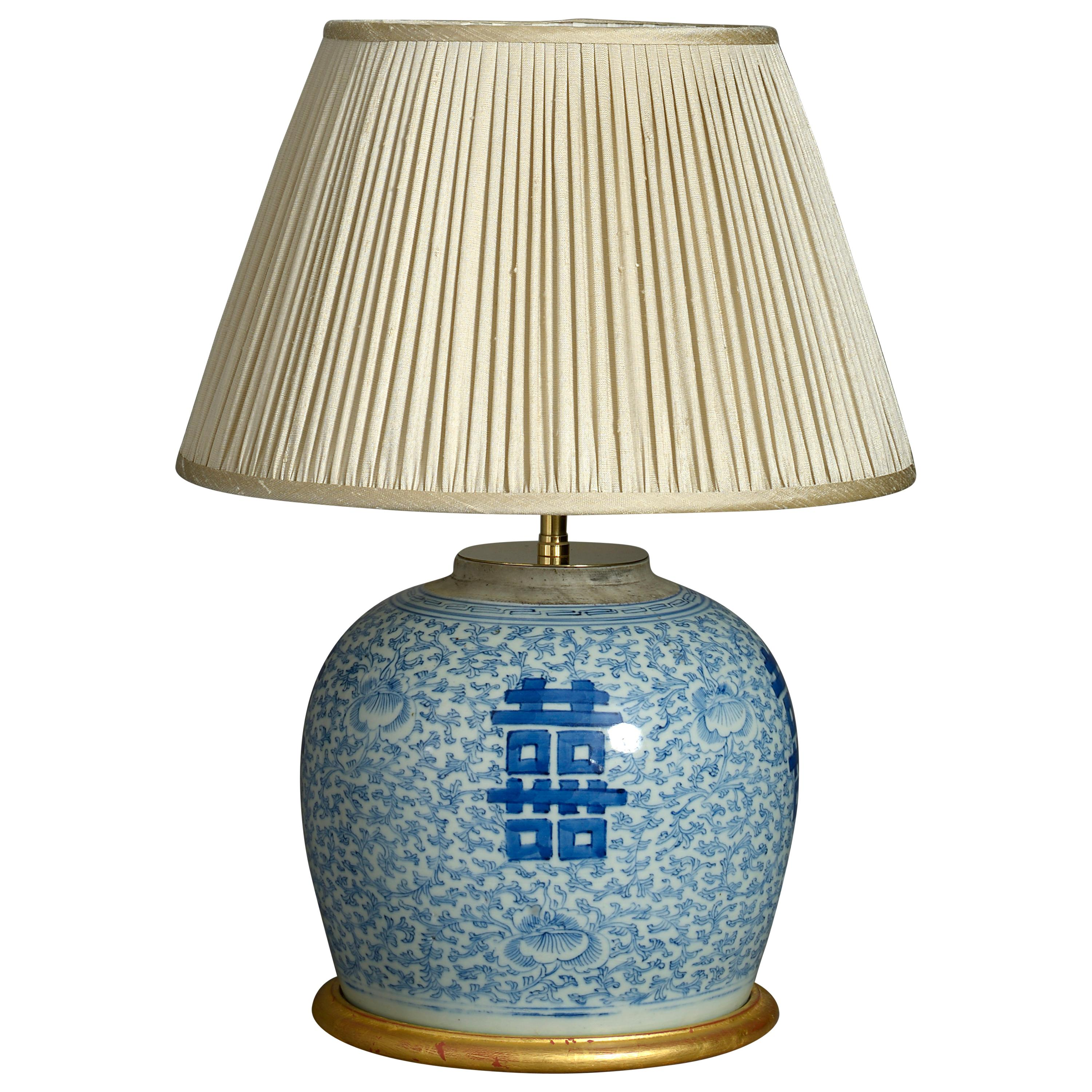 19th Century Blue and White porcelain Jar Lamp