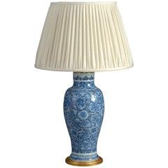 19th Century Blue and White Vase Lamp in the Kangxi Taste