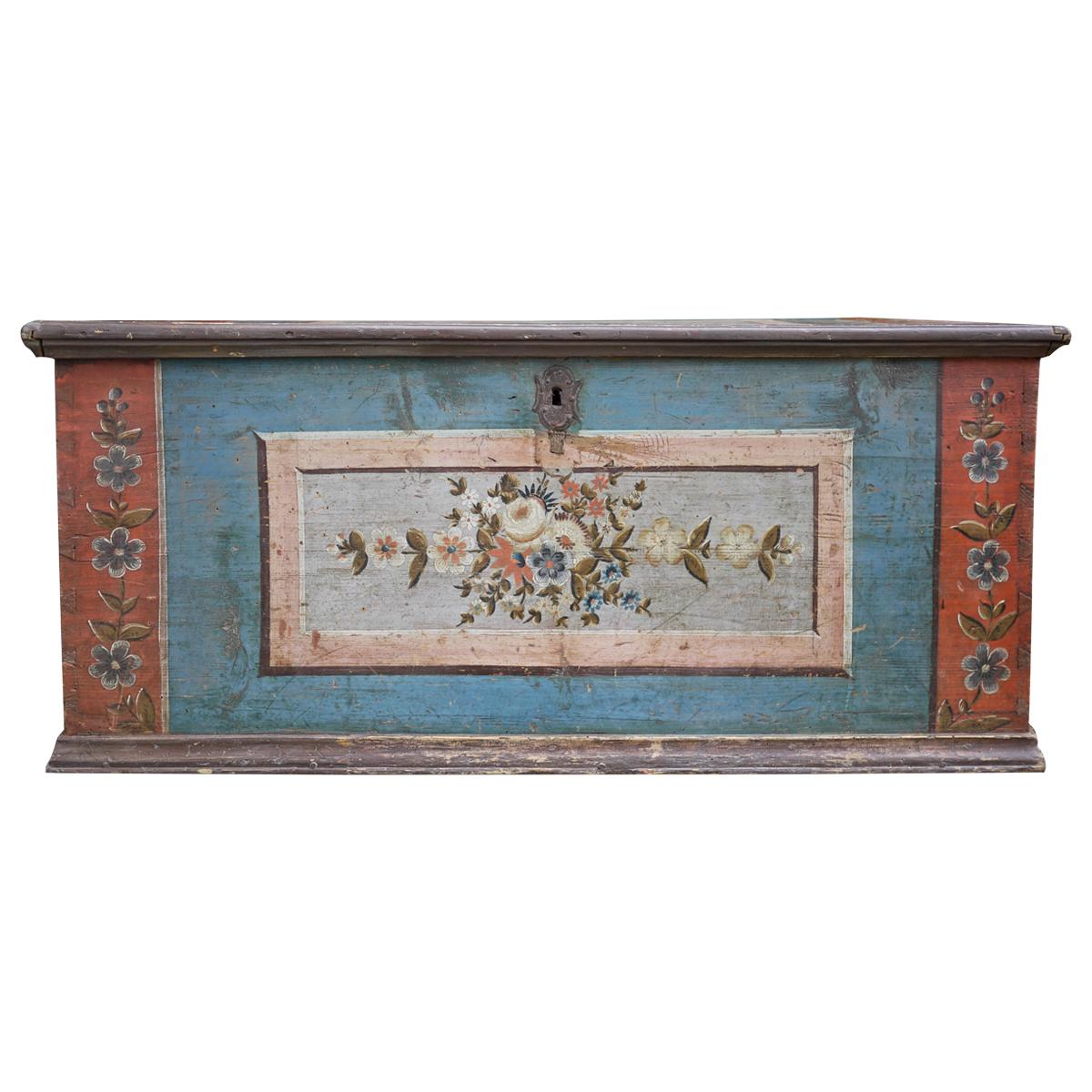 19th Century Blue Floral Painted Blanket Chest, European Alps