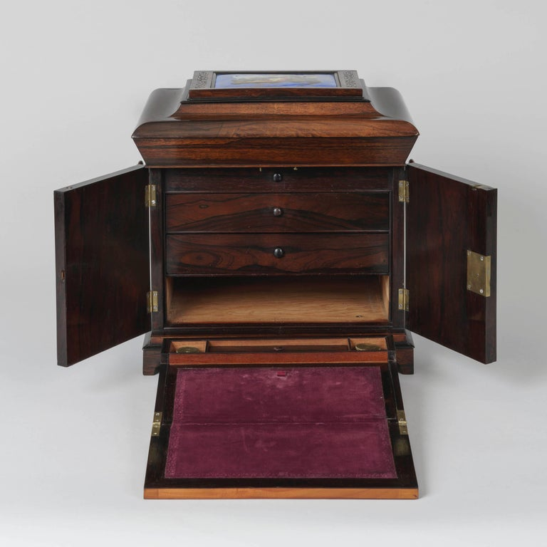 English 19th Century Blue & Gold Porcelain-Mounted Rosewood Table Cabinet For Sale