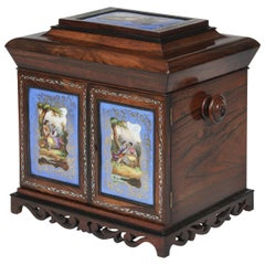 19th Century Blue & Gold Porcelain-Mounted Rosewood Table Cabinet