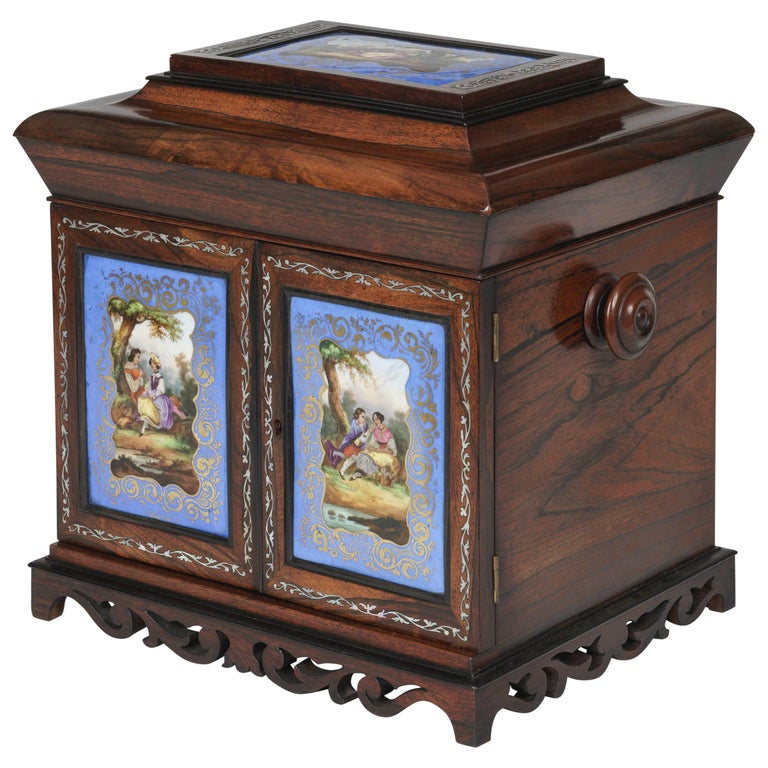 19th Century Blue & Gold Porcelain-Mounted Rosewood Table Cabinet For Sale