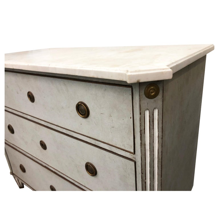 19th Century Blue Grey Swedish Gustavian Chest, Antique Oakwood, Marble Commode For Sale 1