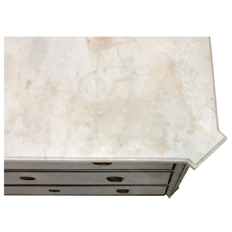 19th Century Blue Grey Swedish Gustavian Chest, Antique Oakwood, Marble Commode For Sale 2