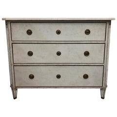 19th Century Blue Grey Swedish Gustavian Chest, Antique Oakwood, Marble Commode