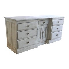 19th Century Blue-Grey Swedish Gustavian Chest of Drawers - Pinewood Sideboard