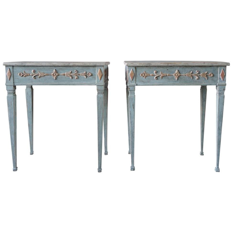 19th Century Blue-Grey Swedish Gustavian Pair of Console Tables