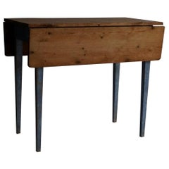 19th Century Blue-Grey Swedish Gustavian Pinewood Drop Leaf Table, Small Table