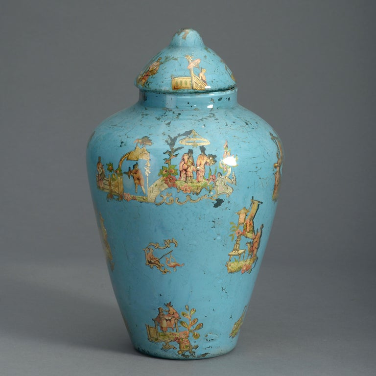 Rococo Revival 19th Century Blue Ground Decalcomania Vase and Cover For Sale