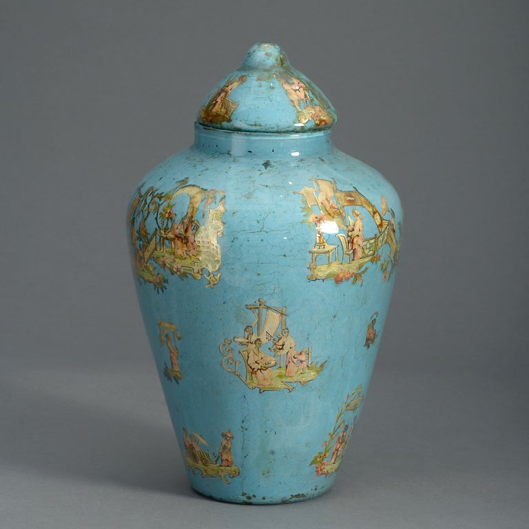 Italian 19th Century Blue Ground Decalcomania Vase and Cover For Sale