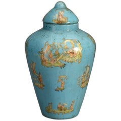 19th Century Blue Ground Decalcomania Vase and Cover