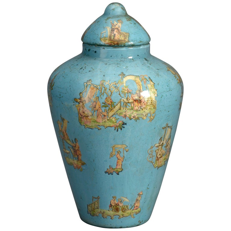 19th Century Blue Ground Decalcomania Vase and Cover For Sale