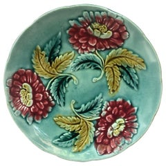 19th Century Blue Majolica Plate with Red Flowers