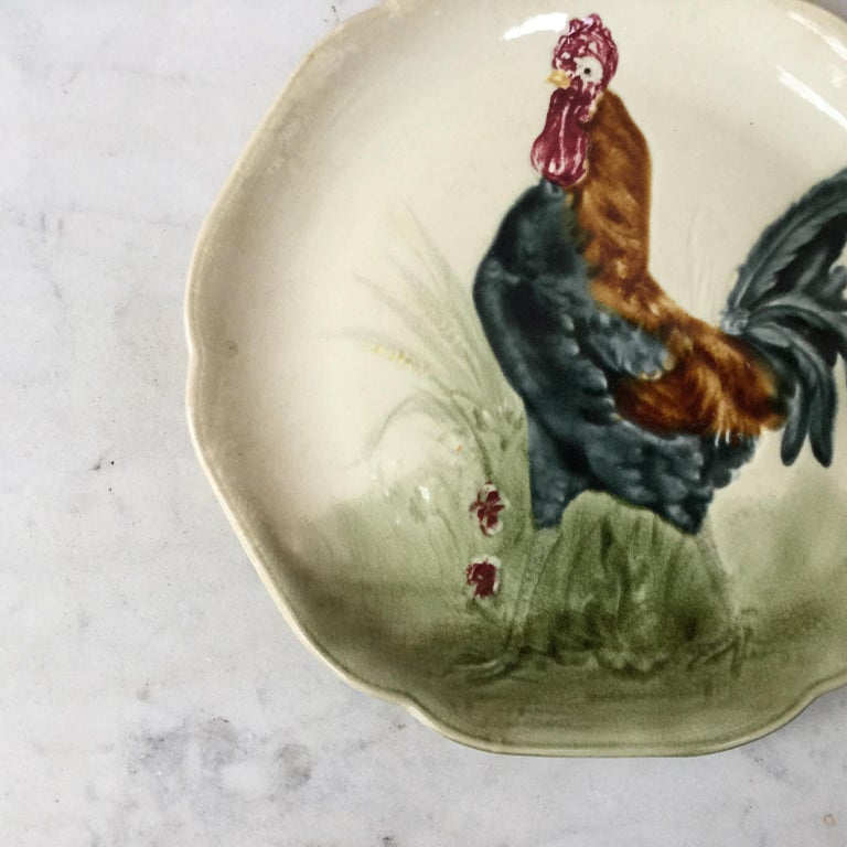 Majolica plate with rooster signed Hippolyte Boulenger Choisy le Roi, circa 1890.