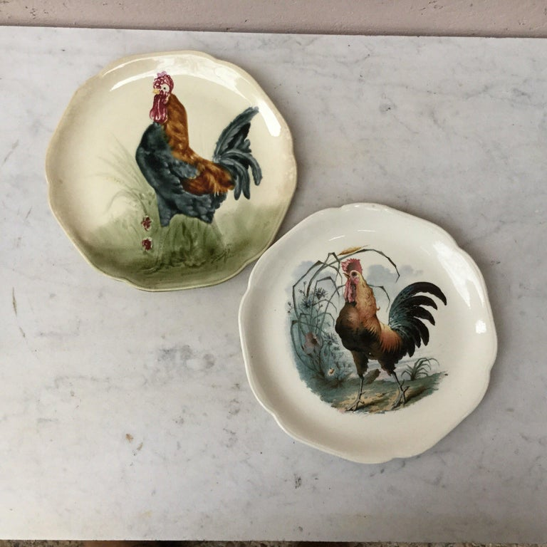 French 19th Century Blue Majolica Rooster Plate Choisy Le Roi For Sale