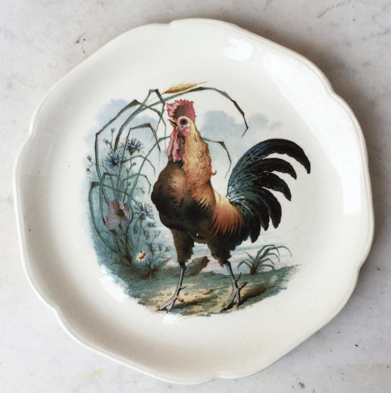 Late 19th Century 19th Century Blue Majolica Rooster Plate Choisy Le Roi For Sale
