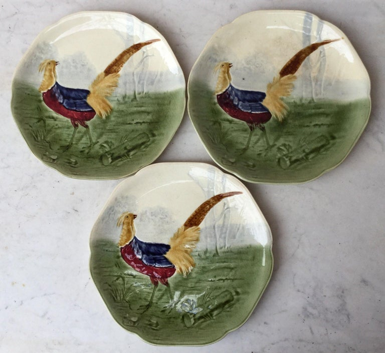19th Century Blue Majolica Rooster Plate Choisy Le Roi For Sale 1