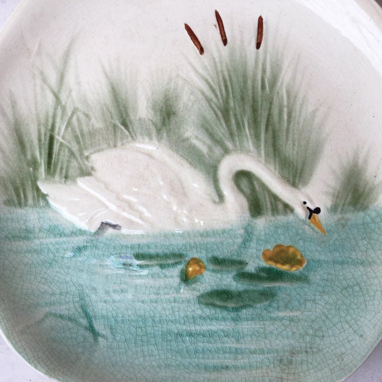 Country 19th Century Blue Majolica Swan Plate Choisy Le Roi For Sale