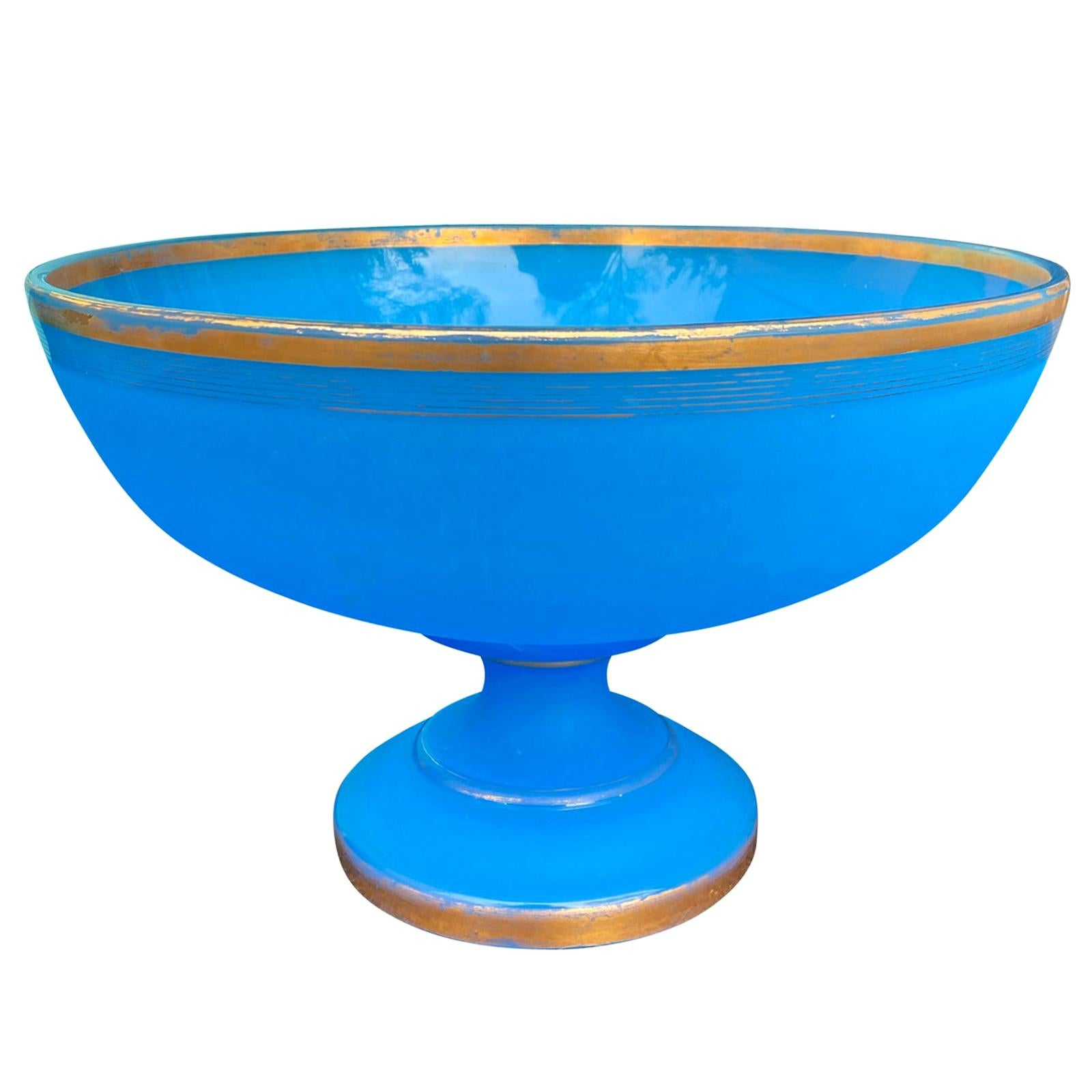 19th Century Blue Opaline Glass Round Centerpiece or Bowl with Gilt Edges