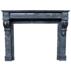 19th Century Blue Turquin Marble Fireplace Mantle