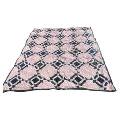19th Century Blue & White Arrow Pattern Quilt with Red Stripe Back Round