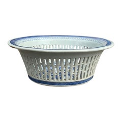 19th Century Blue and White Canton Ware Chestnut Bowl