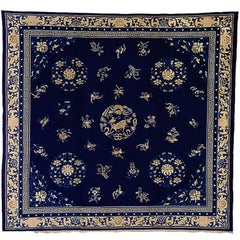 19th Century Blue White Medallion with Animals Wool Chinese Rug, circa 1870