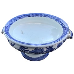 19th Century Blue Willow English Compote with Handles