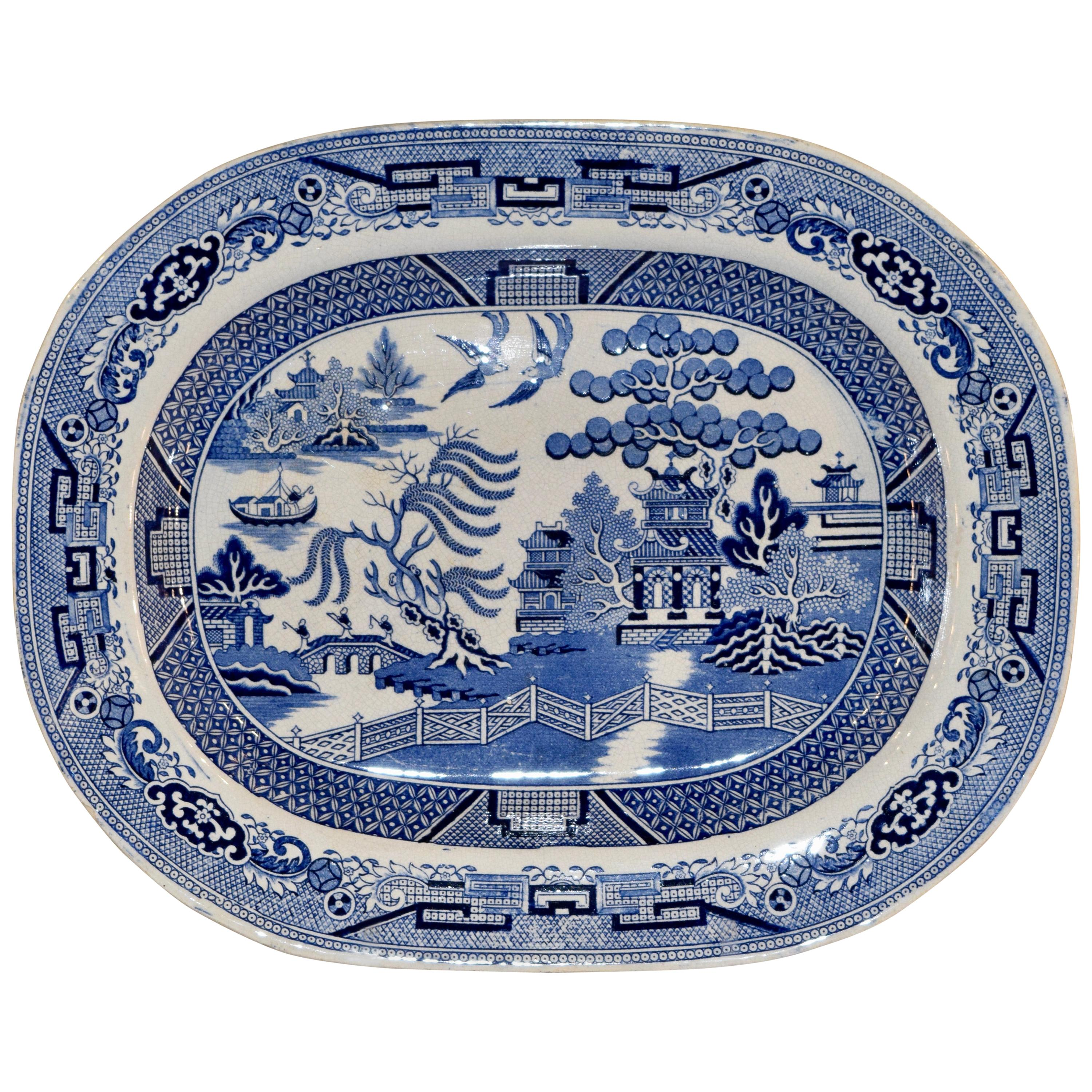 19th Century Blue Willow Staffordshire Platter
