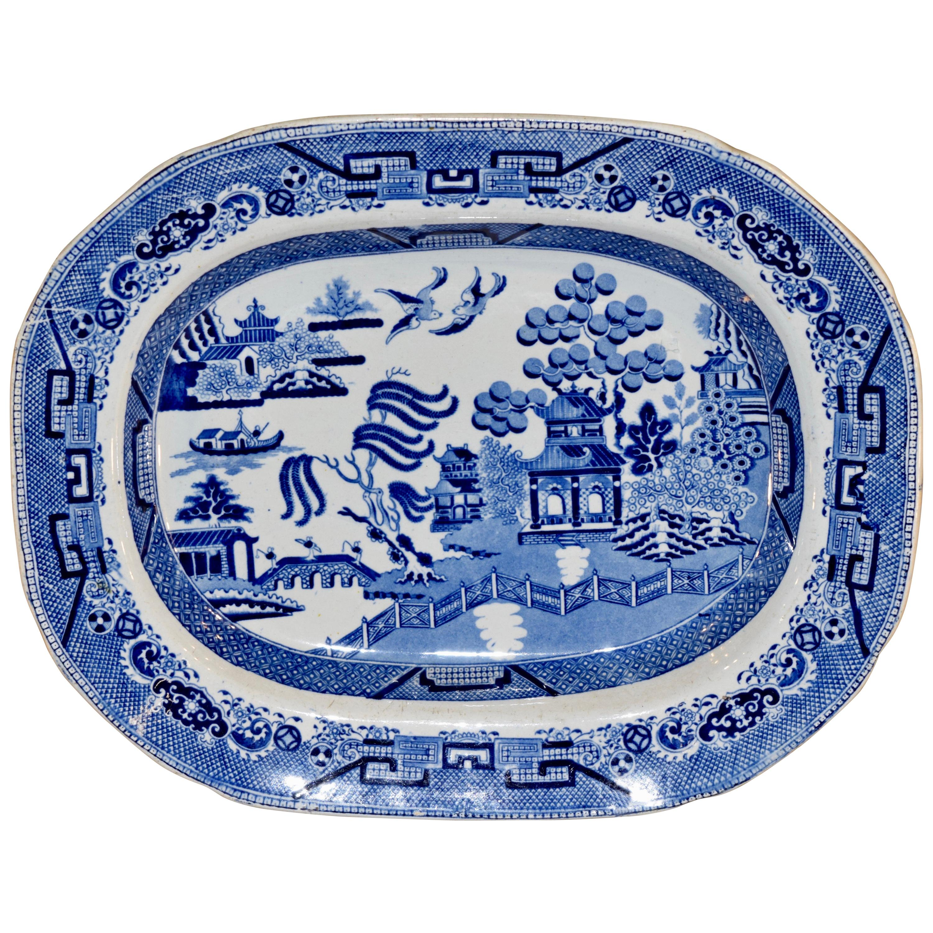19th Century Blue Willow Transfer Platter