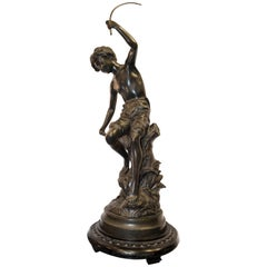 19th Century Blued Bronze French Fisherman Signed Sculpture